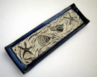 Seashell Plate - Ceramic Tray - Beach Décor - Sgraffito Pottery - Coastal Art - Starfish Dish - Trinket Dish - Handmade Pottery