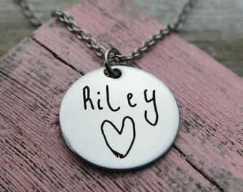 """Custom Handwriting  1"""" Round Charm Necklace with your loved one's actual handwriting, Stainless Steel"""
