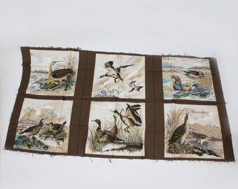 Vintage Pillow Panel Fabric / Ducks / Six (6) Pillow Fronts