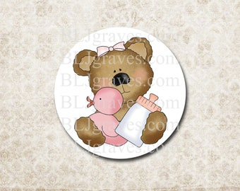 Sticker Baby Shower Envelope Seal Girl Teddy Bear Pink Duck Party Favor Treat Bag Sticker SB008
