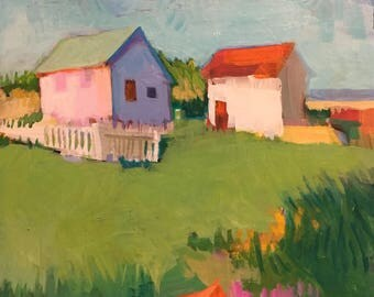 "Morning Start - Original  Acrylic OIl Encaustic Landscape Painting 12""x 12"""