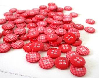 RED Christmas Buttons, Red Sewing Buttons, Christmas Buttons, Valentine Buttons, Scrapbooking Buttons, Button Pack, Gingham Plaid Button