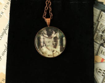 Thoughts - Vintage inspired photo necklace, wearable art pendant, letter collage
