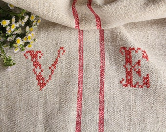 EP 523: antique grainsack, 리넨 faded STRAWBERRY RED 43.31 long,monogram, pillow, cushion, decoration, french lin, tablerunner, upholstery