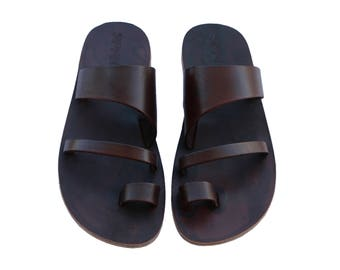 CLEARANCE SALE - Dark Brown Thong Leather Sandals - All Leather Sole  - Euro # 39 - Handmade Unisex Sandals, Genuine Leather, Sale