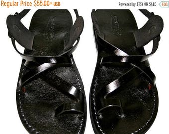 15% OFF Black Roxy Leather Sandals For Men & Women - Handmade Unisex Sandals, Flip Flop Sandals, Jesus Sandals, Genuine Leather Sandals