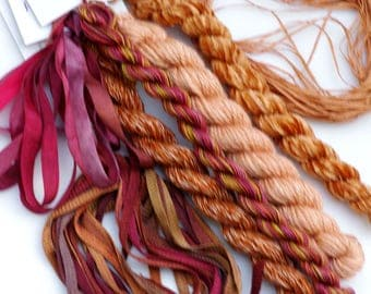Autumn Apple Variety Thread  Pack. Limited Edition. Hand dyed by The ThreadGatherer. Silk.Wool.Cotton.Hand Dyed Fibers. Thread Sampler Pack.