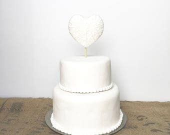 Wedding Cake Topper - 2 sizes - jute twine or ivory cotton heart cake topper - wedding decor, baby shower - matches wedding ring holder