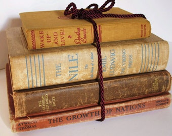 Books by Color Collection 1920s 1930s Brown Tan Gold Fall Autumn Colors History Maps Paper Ephemera School Vintage Library