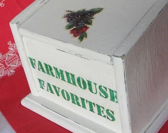 Farmhouse Wood Recipe Box Distressed White Painted Cooking File Green Lettering Fruit Decal Farm Kitchen with Cards Hinged Lid Barn Wedding