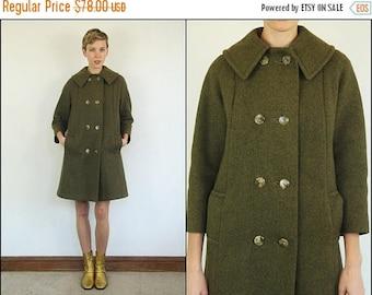 SUMMER SALE Vintage 60's Mod Wool Swing Boho Preppy Double breast Olive military green Jacket Coat XS S M