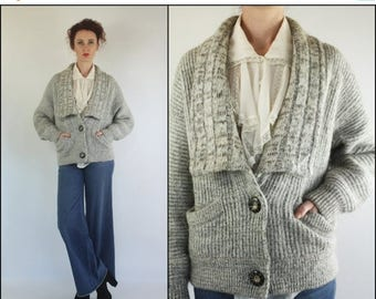 SUMMER SALE Vintage 80's Wool Mohair Slouchy Batwing Boho Minimalist Gray Cardigan Sweater XS S M