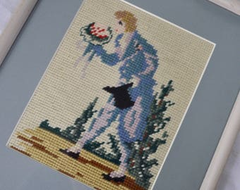 Rococo Kitsch Vintage 1960s Cross Stitch Portrait of Baroque Gentleman in Morning Suit and Top Hat