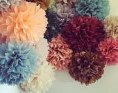 CUSTOM COLORS / 20 tissue paper poms / wholesale price wedding decorations / gender reveal baby shower pompom / first birthday party decor