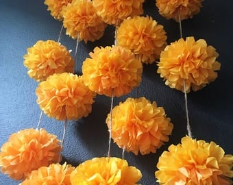 MARIGOLDS pompom garland kit golden yellow orange dia de los muertos rustic barn theme wedding engagement birthday baby shower decorations