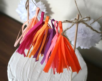 GARLAND CAKE TOPPER mini tassel wedding first birthday party banner dessert pie baby bridal shower custom colors fringe decorations sweet 16
