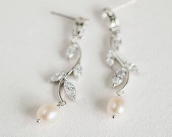 Wedding Earrings,  CZ Bridal Earrings, Wedding Jewelry, Freshwater Pearl Wedding Earrings