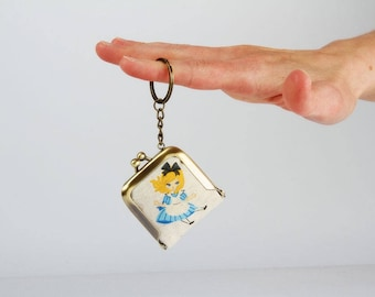 Keychain purse - Alice in Wonderland - Tiny purse / Metal frame coin purse / Japanese fabric / Blue yellow black white