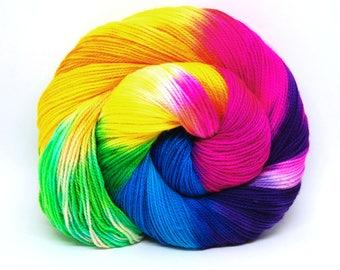 "Acoustic Sock Yarn - ""Milky Way"" - Handpainted Superwash Merino - 400 Yards"