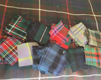 Large Lot of Real Scottish Wool Tartan Scraps + Larger Piece of Fraser Hunting Tartan ( Outlander ) - Great for Quilting, Patching, Crafting