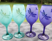 Aqua, Blue or Clear Dragonfly Frosted Etched White Wine Glasses Set Of 2