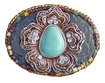 Western Mosaic Belt Buckle with Turquoise Howlite Flower with Rhinestones