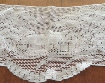 Vintage Filet Crochet Antimacassar Doilies, Three pieces, Frameable, Country Cottage Scene