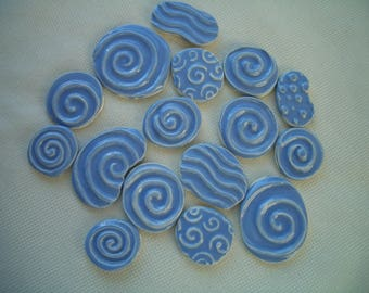 16W - BLUE WATER Circles - Ceramic Mosaic Tile Set