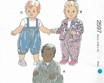 Kwik Sew Pattern 2597, Baby Size S-M-L-XL, Pants and Jackets, Uncut Vintage Sewing Pattern