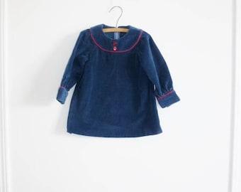 SALE // Vintage Navy/Teal Corduroy Dress