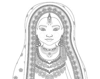 Pakistani Matryoshka Coloring Sheet Printable file