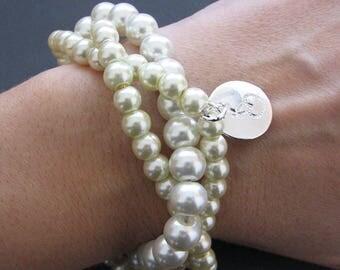 Bridesmaid Gift Personalized Bracelet Pearl Bracelet Initial Bracelet Id Jewelry Monogram Bracelet Stamped Jewelry