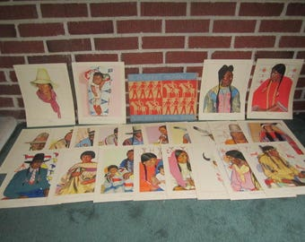 Vintage 1940 Blackfeet Indians Great Northern Railroad Lot of 22  Winold Reiss Portrait Prints in Folder