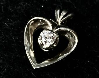 Vintage Pendant, 14 Karat, White Gold, Diamond Heart, Estate Jewelry