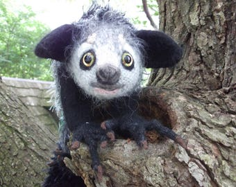 Aye aye stuffed animal,  Aye aye plush, artist plush, amigurumi Aye aye, stuffed Aye aye, hand knit and felted Aye aye, made to order