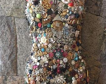 Vintage Jewel Encrusted Mannequin - Front