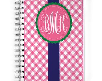 Personalized Planner - Monogrammed Monthly Calendar Notebook