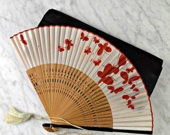 Vintage Handheld Fan, Hand Painted, Butterfly Fan, Wooden & Silk Fan,  Ladies Fan, Bridal Fan, Wedding Fan, Red White, Vintage Fans,