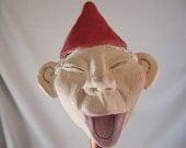 "Hand built pottery laughing gnome ""pothead"" garden pot decoration"