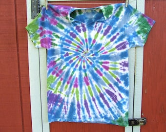 Adult Large Tie Dye Tshirt - V-Neck - Ready to Ship - Mystic Spiral