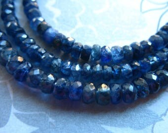 SAPPHIRE Rondelles Beads, Medium Blue, Luxe AAA, Larger 4.5-5 mm, Not Dyed, september birthstone tr nd solo 45