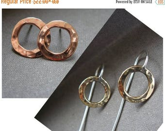 End of Summer SALE Mini Circle Post  or hanging circle in copper, bronze or sterling