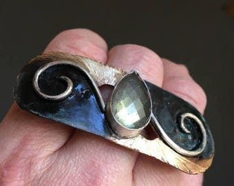 30% off Sale Labradorite Cleopatra meets Art Nouveau bronze and sterling ring