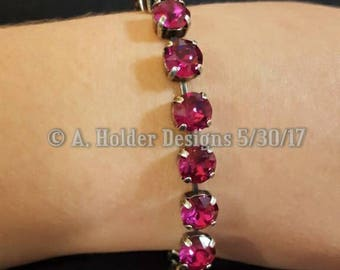 Crystal Bracelet - Fuschia Swarovski Chatons - 8 mm stone size
