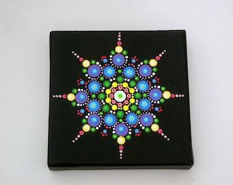 Sale-Mini Mandala 4x4 canvas star dot art-original OOAK wall art-pointillism-dotillism-aboriginal-hippie boho-yoga-meditation-neon glow-zen