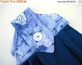 Summer Sale Hanging kitchen towel  button top Blue  Flowers Quiltsy handmade