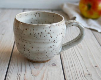 Stoneware Mug in Creamy White Glaze Rustic Pottery Cup 12 oz. Ready to Ship Made in USA