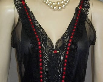 ON SALE Vintage Tosca Black Red Vixen Nylon Lace Teddy Small Romper Lingerie