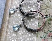 Blue Topaz Earrings | Boho Earrings Women | Copper Hoop Earrings | Boho Rustic Jewelry | Statement Earrings | Boho Jewelry | Gift for Her