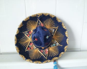 Vintage  NAVY BLUE  Mini Sombrero For Pet